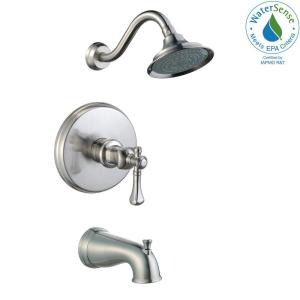 Pegasus Verdanza Watersense Single Handle 1 Spray Tub And Shower Faucet In Brushed Nickel Valve Included 873w 5004 The Home Depot