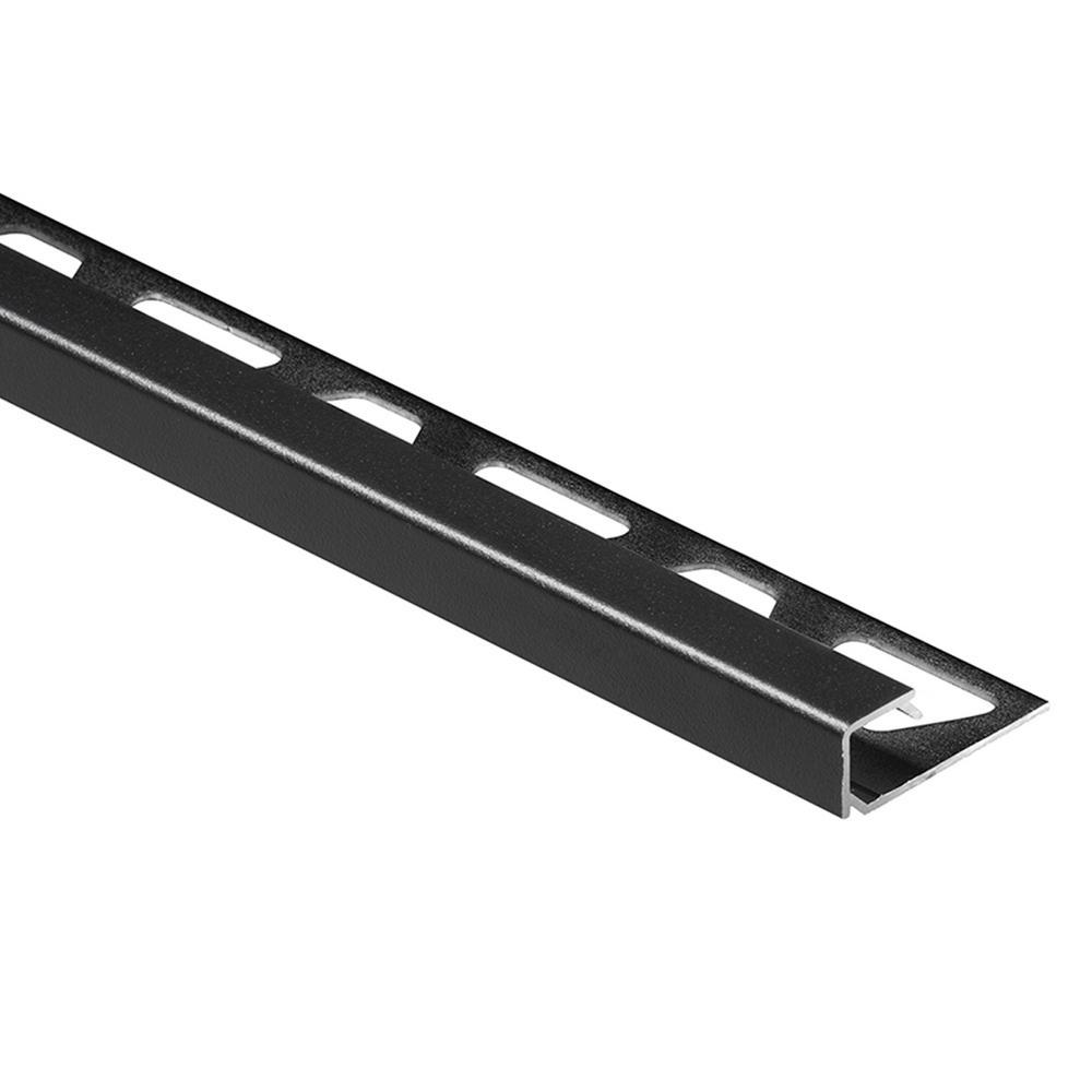 Quadec Matte Black Textured Color-Coated Aluminum 3/8 in. x 8 ft. 2-1/2 in. Metal Square Edge Tile Edging Trim