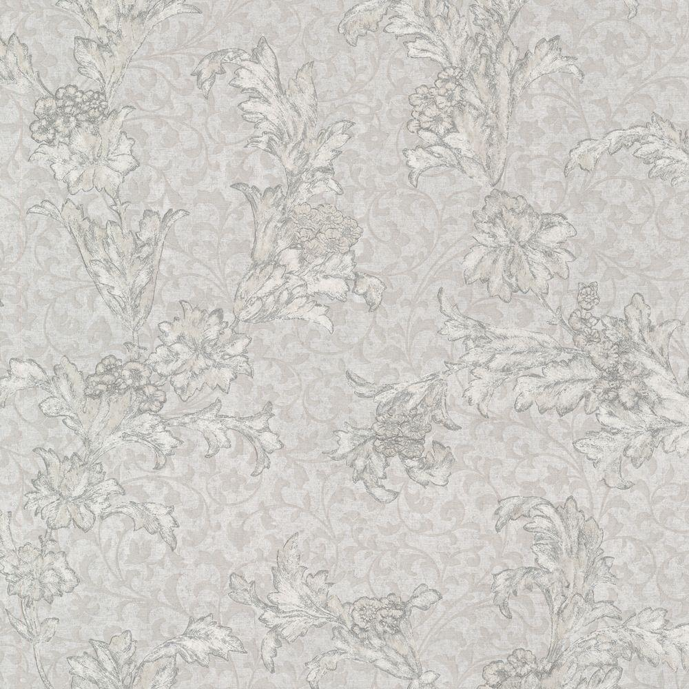 Mirage Empire Light Grey Floral Scroll Wallpaper