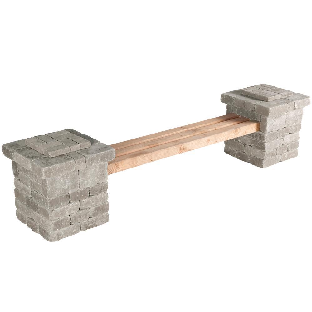 RumbleStone 103.5 in. x 26 in. x 24.5 in. Concrete Garden Bench Kit in Greystone