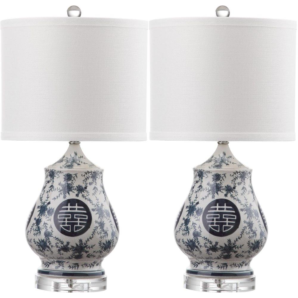 Safavieh abbie 21 in white and blue table lamp set of 2 lit4241a white and blue table lamp set of 2 mozeypictures Choice Image