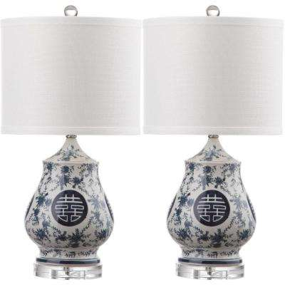 Abbie 21 in. White and Blue Table Lamp (Set of 2)
