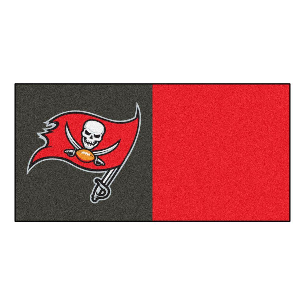FANMATS NFL - Tampa Bay Buccaneers Black and Red Nylon 18 in. x 18 in. Carpet Tile (20 Tiles/Case)