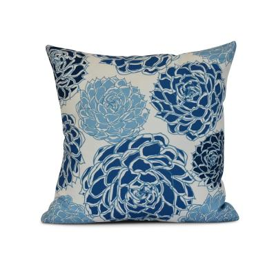 Olivia Floral Print Throw Pillow in Blue