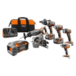 Ridgid GEN5X 18-Volt 5 Piece Combo Kit with BONUS 18-Volt Brushless Impact Wrench and Dual Powered Bluetooth... by RIDGID