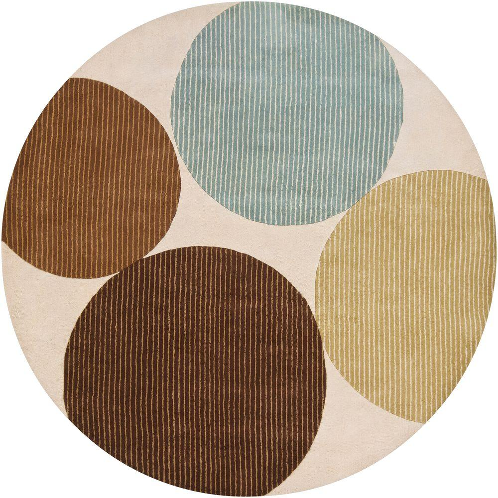 Bense Cream/Blue/Green/Brown 8 ft. Indoor Round Area Rug