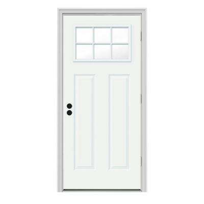 32 in. x 80 in. 6 Lite Craftsman White Painted Steel Prehung Left-Hand Outswing Front Door w/Brickmould