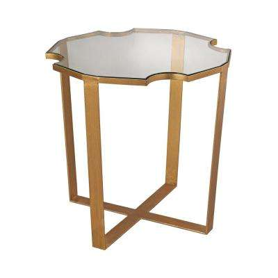 Cutout Top Gold Leaf Side Table