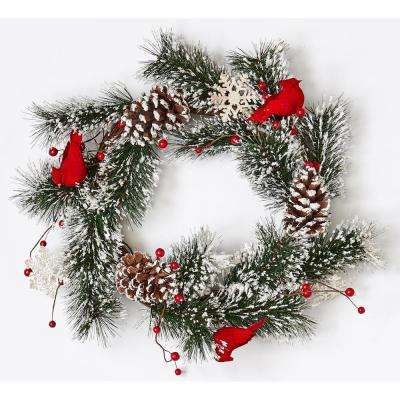 22 in. Snowy Pine Wreath with Cardinals and Snowflakes on Natural Twig Base