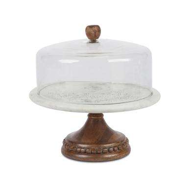 Marble and Wood Glass Cake Pedestal