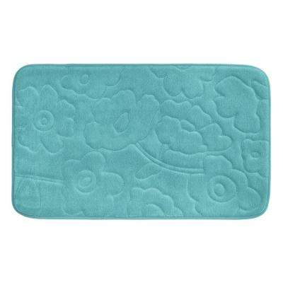 Stencil Floral Turquoise 20 in. x 34 in. Memory Foam Bath Mat