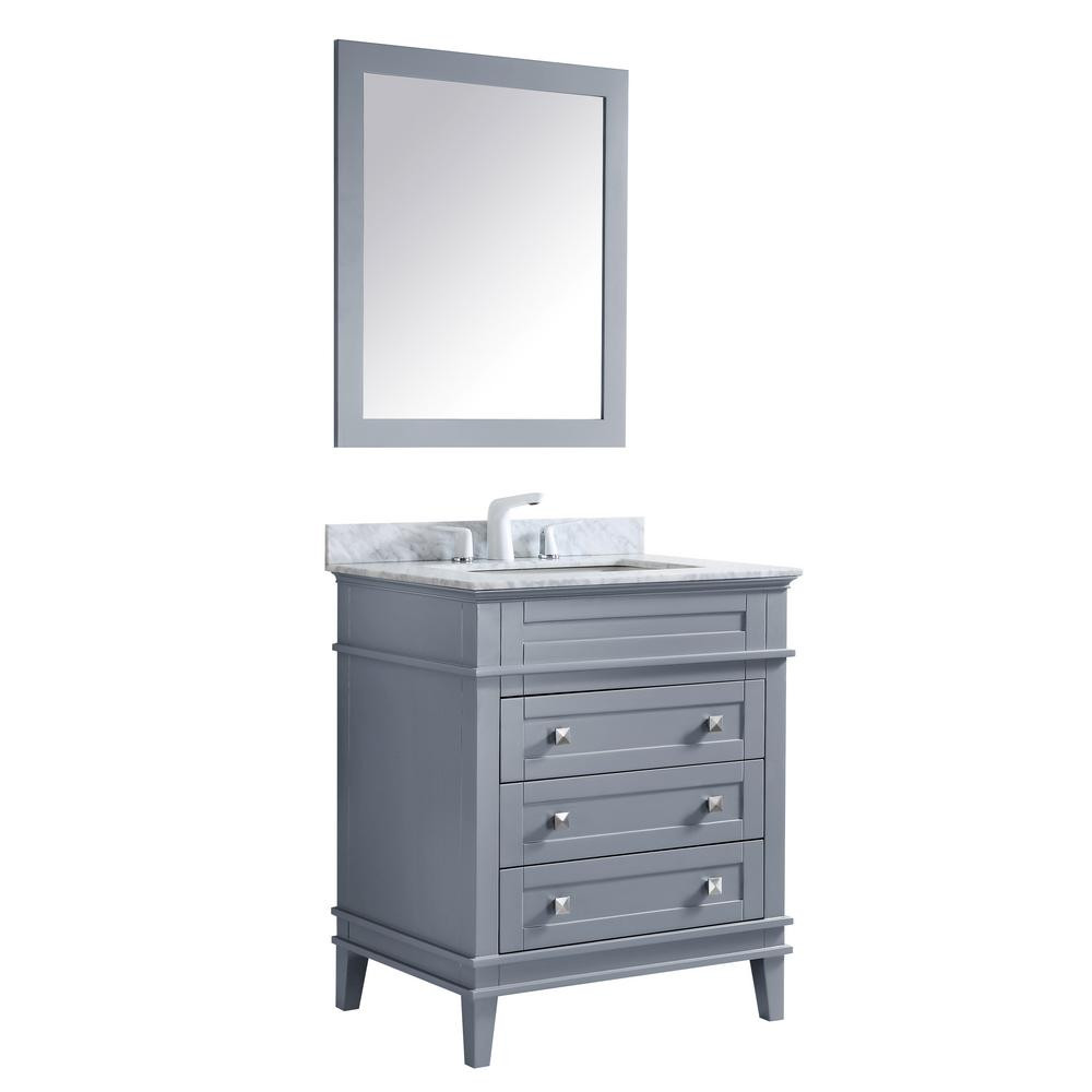 ANZZI Wineck 30 in. W x 35 in. H Bath Vanity in Gray with Marble Vanity Top in Carrara White with White Basin and Mirror