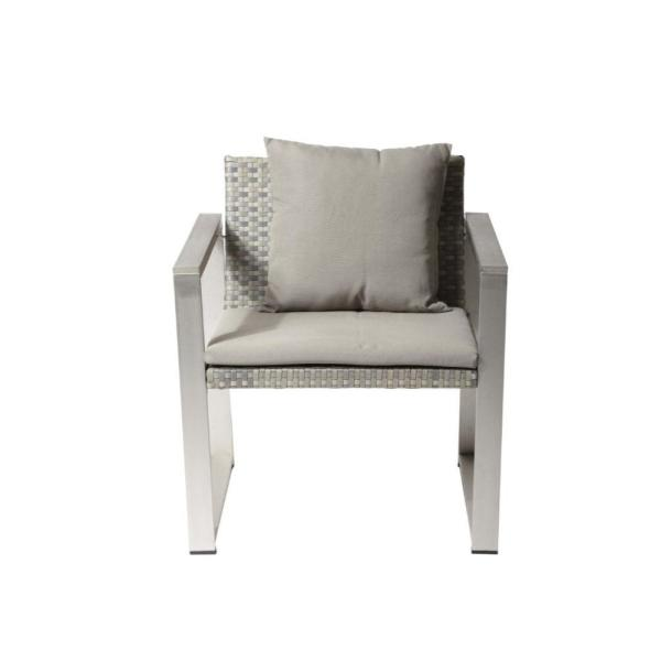 Exquisitely Gray or Taupe Aluminum Upholstered Cushioned Chair with Rattan
