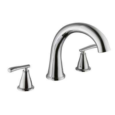 Zuri 2-Handle Deck-Mount Roman Tub Faucet in Chrome