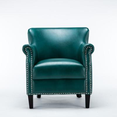 Holly Teal Faux Leather Club Chair