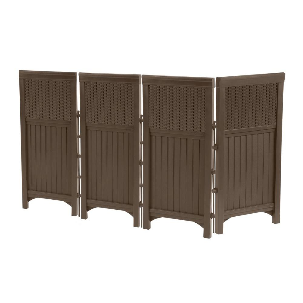 Suncast wicker 44 in resin screen enclosure fsw4423 the for Porch screen panels home depot