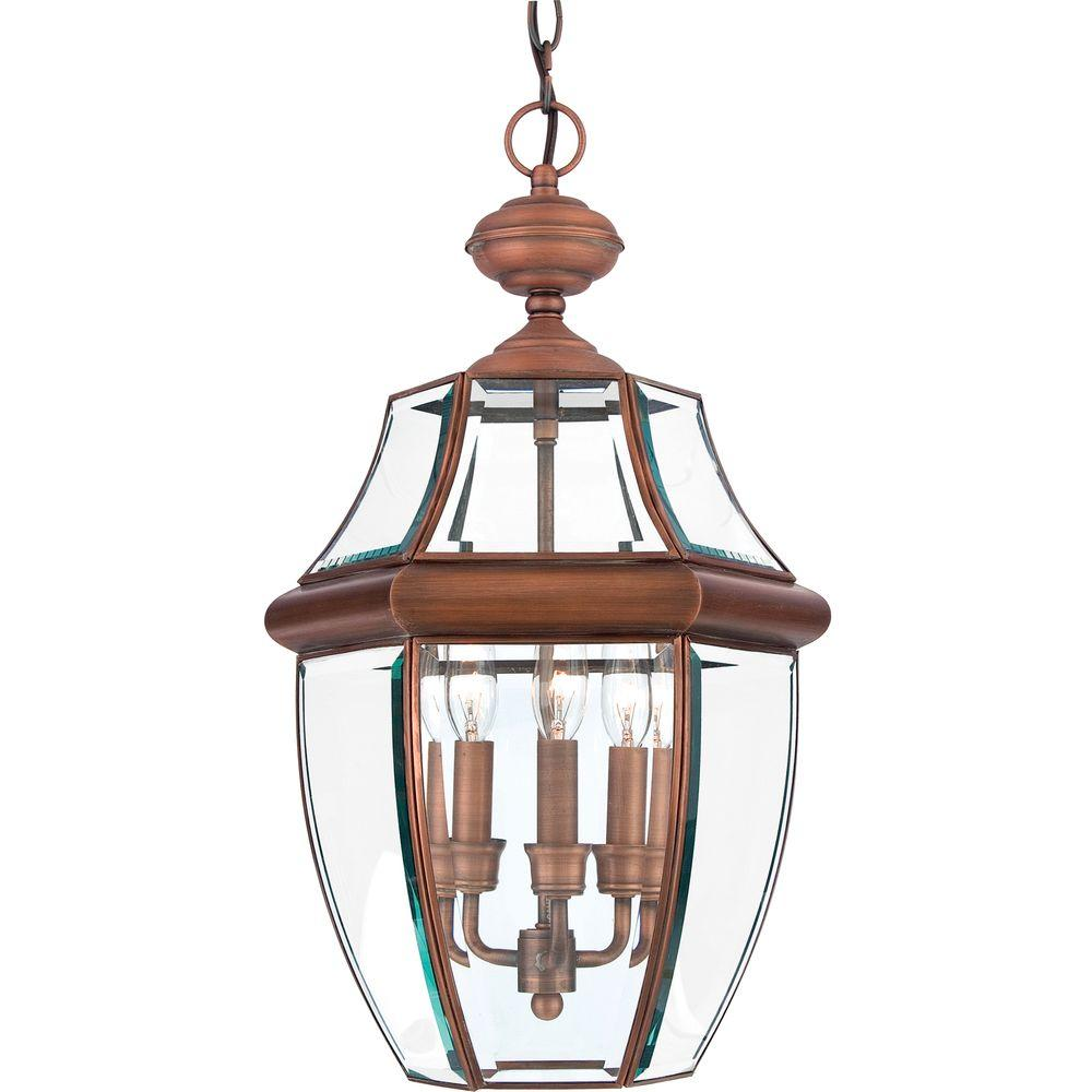 Home Decorators Collection Newbury 3-Light Aged Copper Outdoor Hanging Lantern