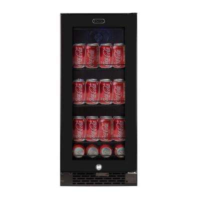 Built-In Black Glass 80-Can 12 oz. / 33-Bottle Capacity 3.4 cu. ft. Beverage Refrigerator Cooler