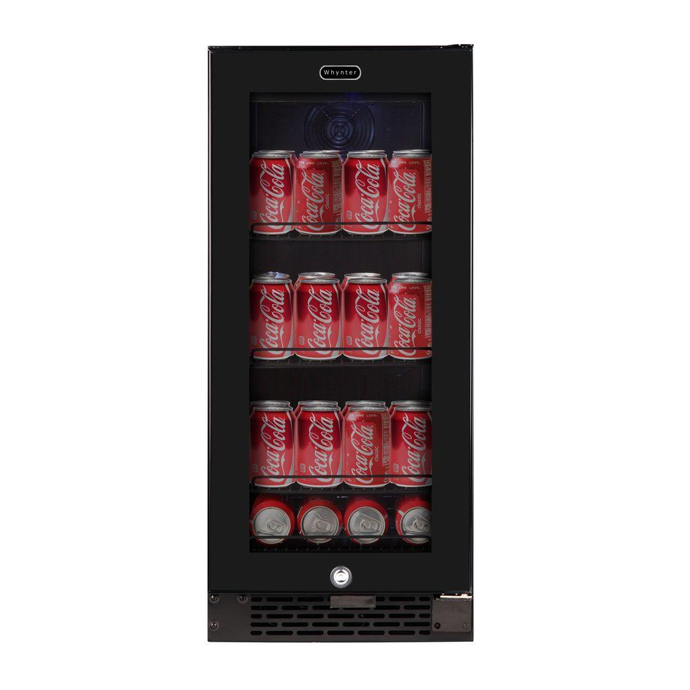 Built-In Black Glass 80-Can 12 oz. / 33-Bottle Capacity 3.4 cu.