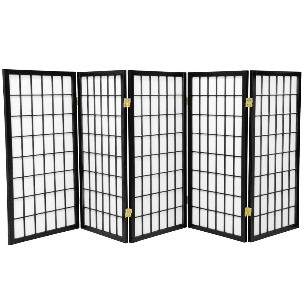 3 ft. Black 5-Panel Room Divider