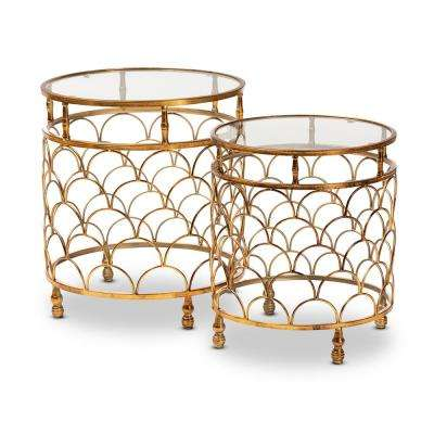 Aliya Antique Gold Stackable Accent Table Set (2-Piece)