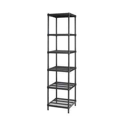 MeshWorks 6-Shelf Metal Black Freestanding Narrow Shelving Unit