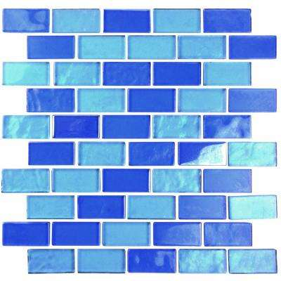 Landscape Horizon Blue Linear Mosaic 1 in. x 2 in. Textured Glass Wall Pool and Floor Tile (0.77 Sq. ft.)