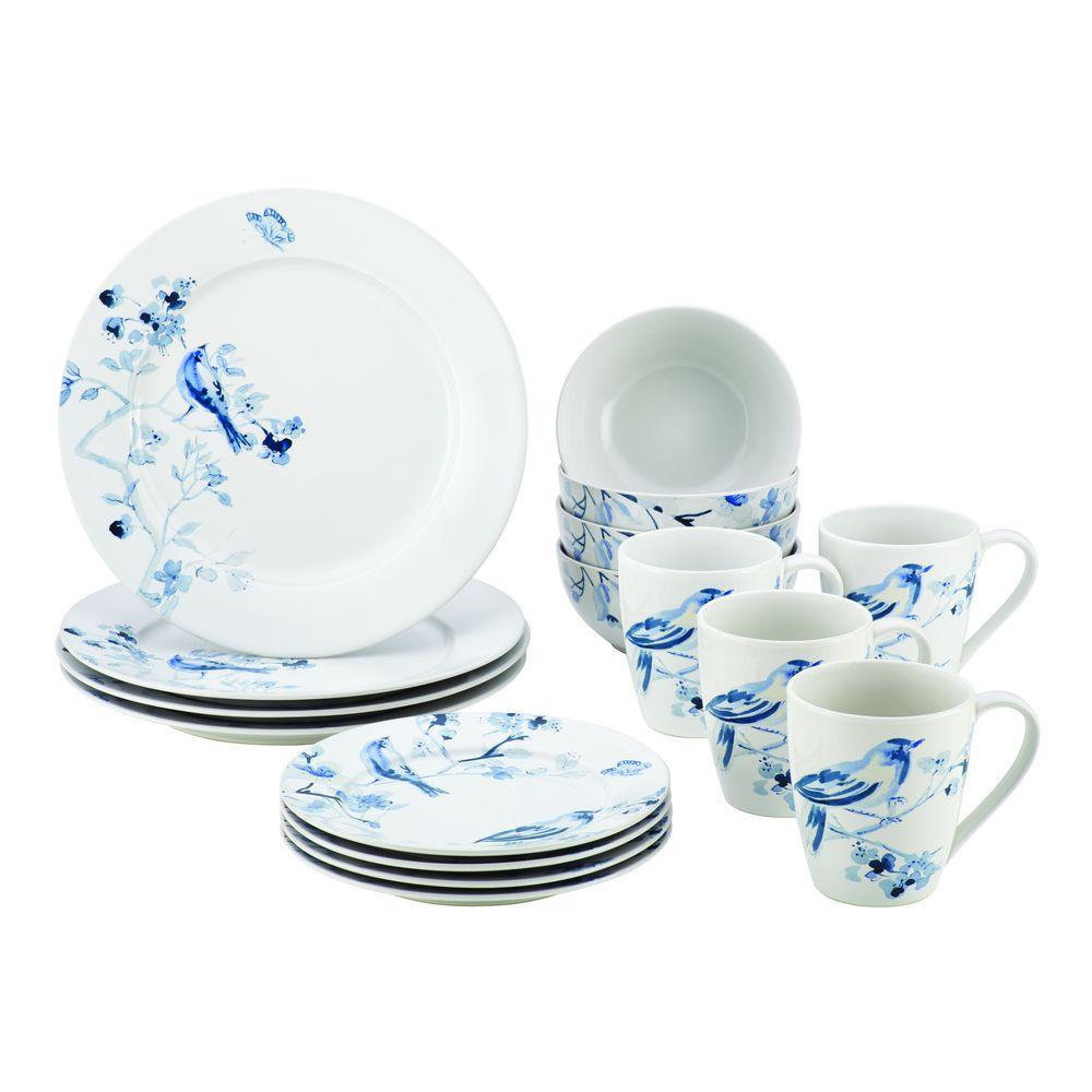 Dinnerware Indigo Blossom 10 in. Stoneware Round Serving Bowl with Print