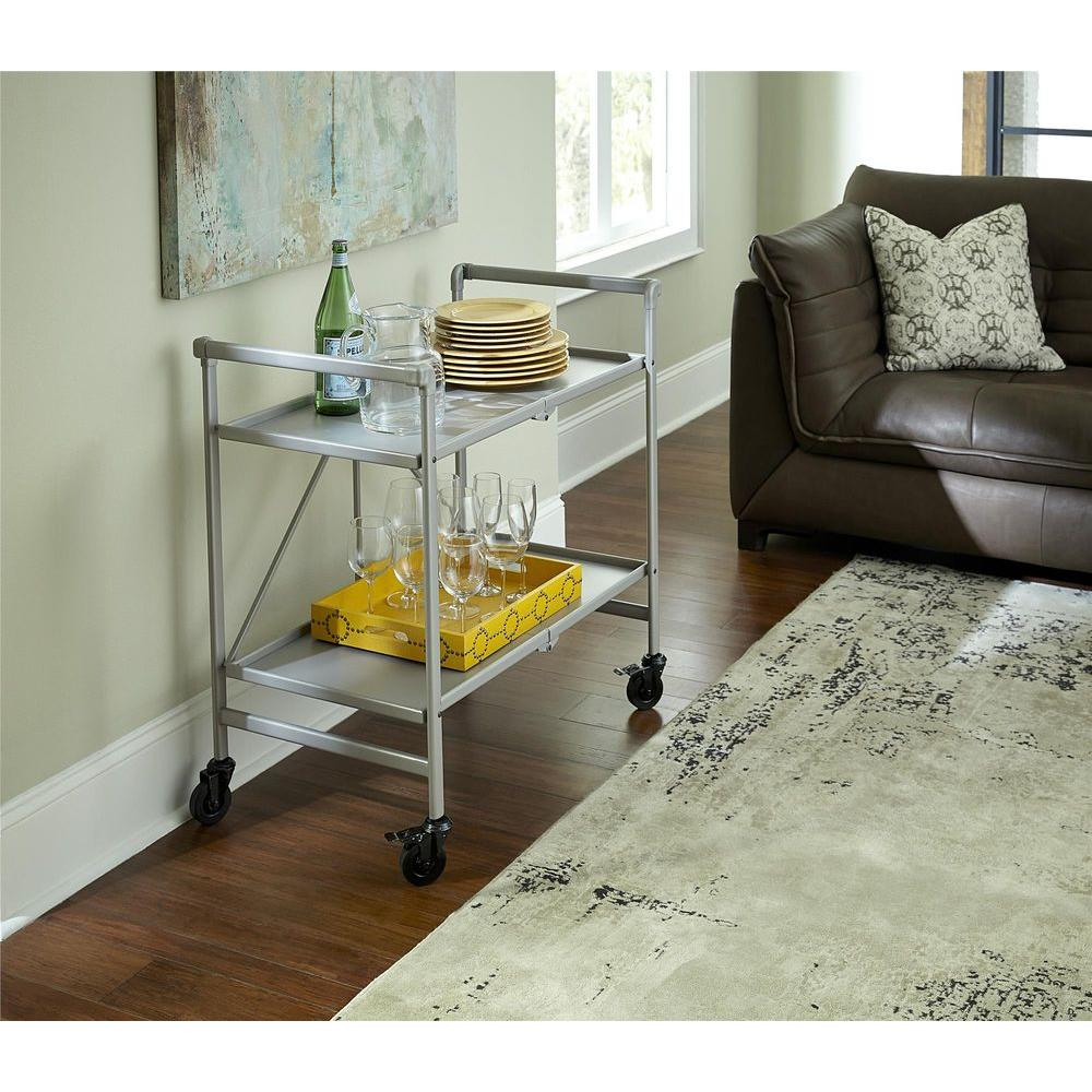 Indoor Or Outdoor Patio Lightweight Folding Metal Rolling Serving Cart