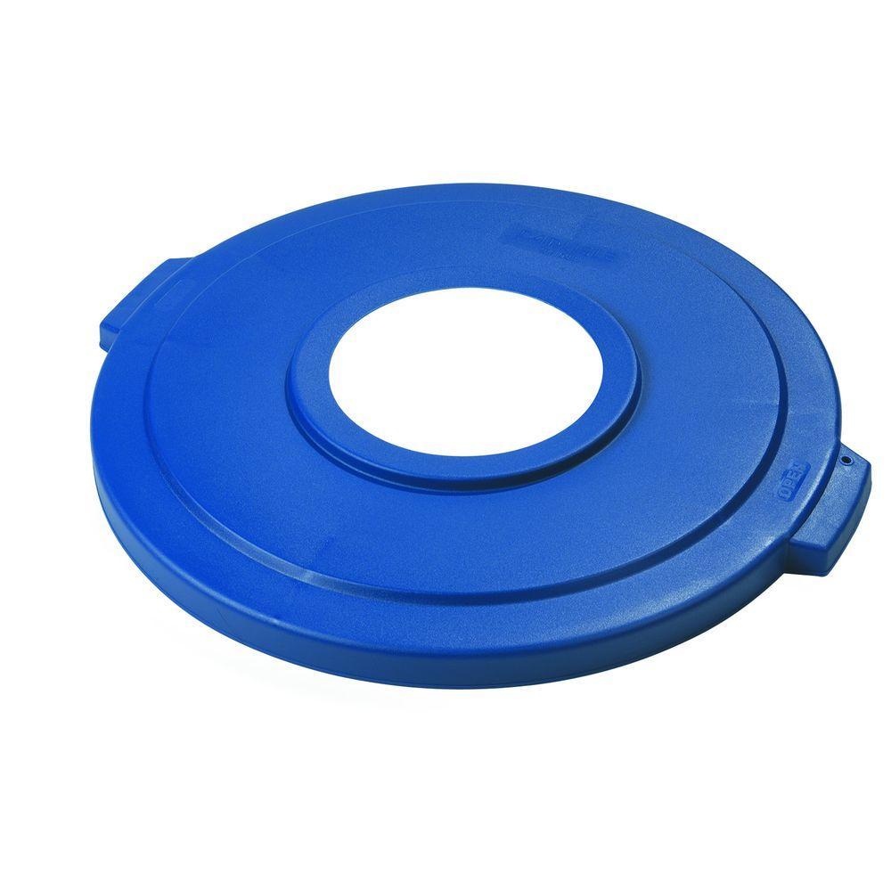 Carlisle Bronco 44 Gal Blue Round Trash Can Recycle Lid