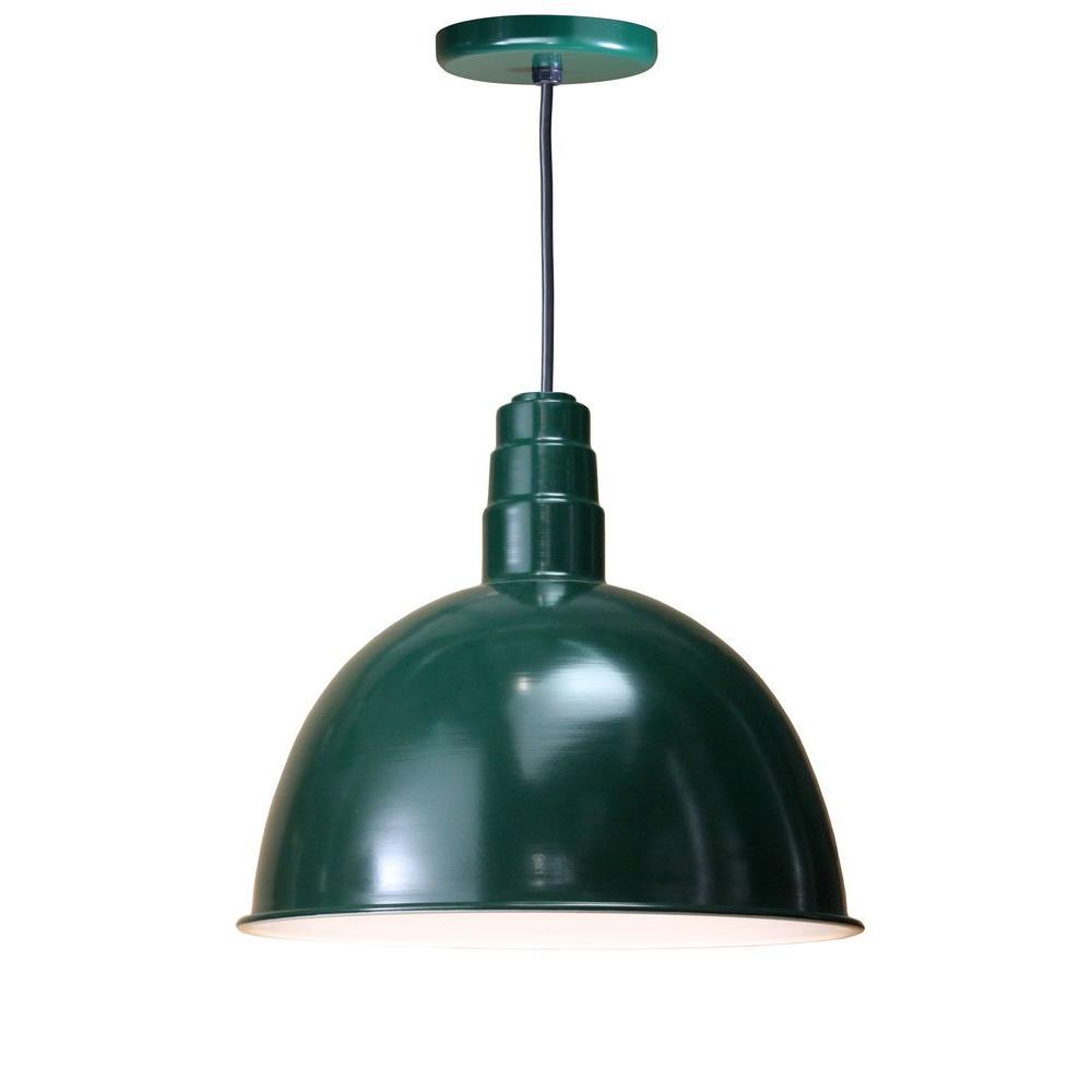 Illumine 1-Light Outdoor Hanging Green Deep Bowl Pendant