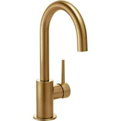 Contemporary Single-Handle Bar Faucet in Champagne Bronze