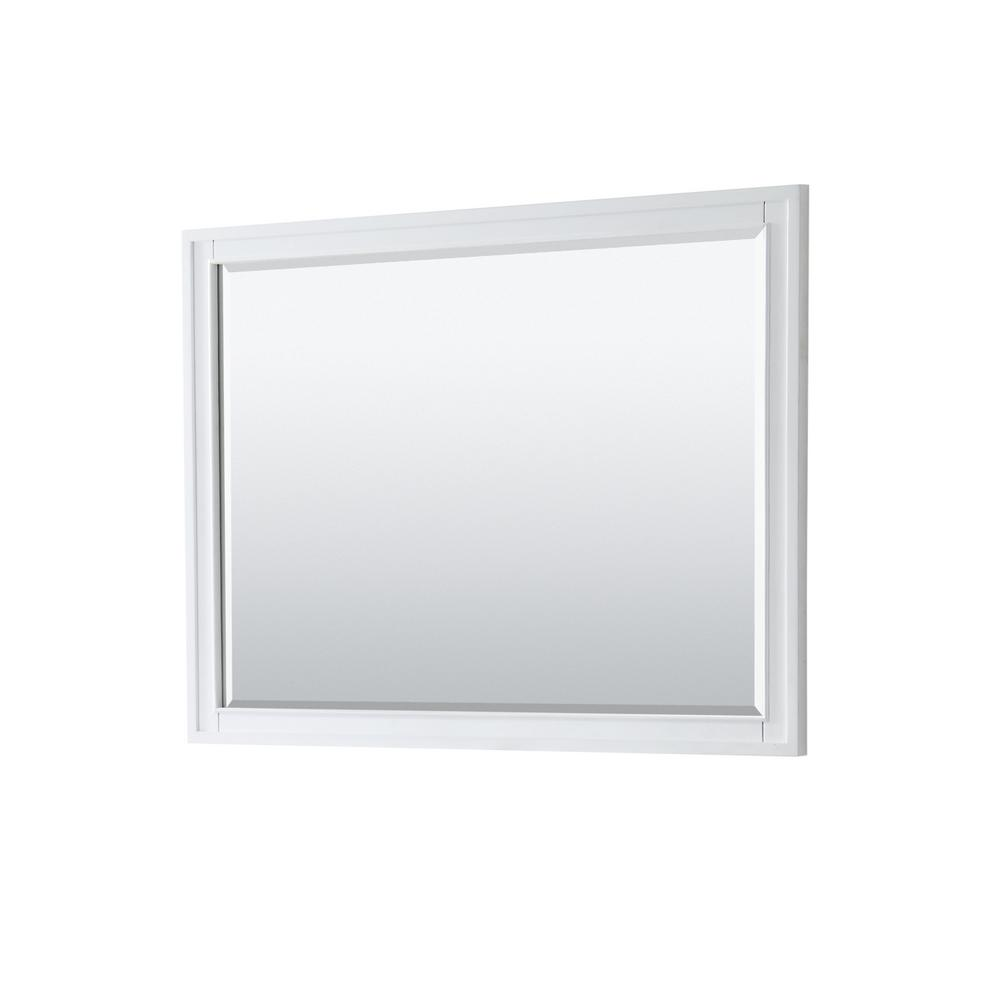 Wyndham Collection Margate 46 in. W x 33 in. H Framed Wall Mirror in White