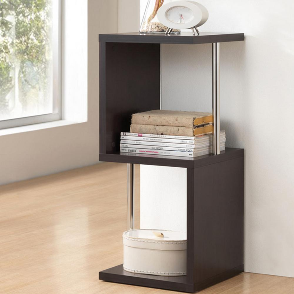 Lindy 13.9 in. x 13.9 in. 2-Shelf Modern Dark Brown Display
