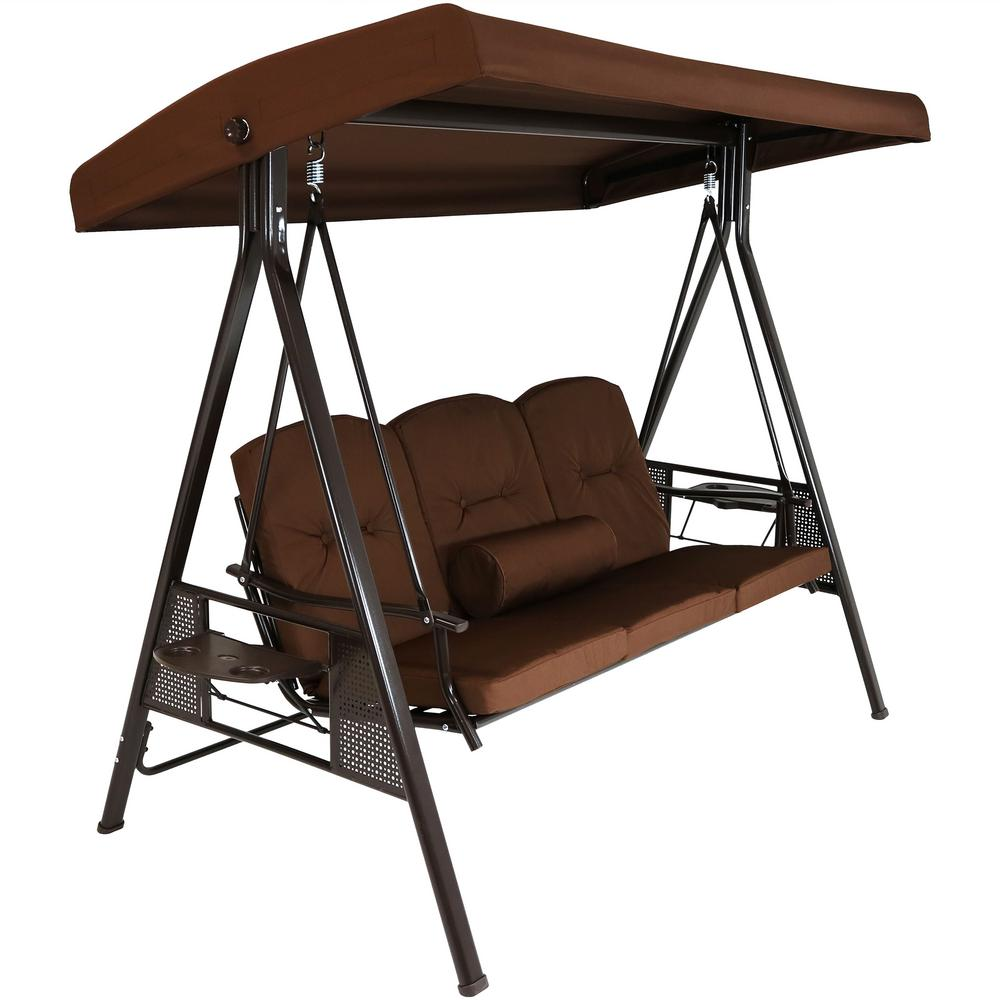 Sunnydaze Decor 3-Person Steel Porch Swing with Brown Cushions