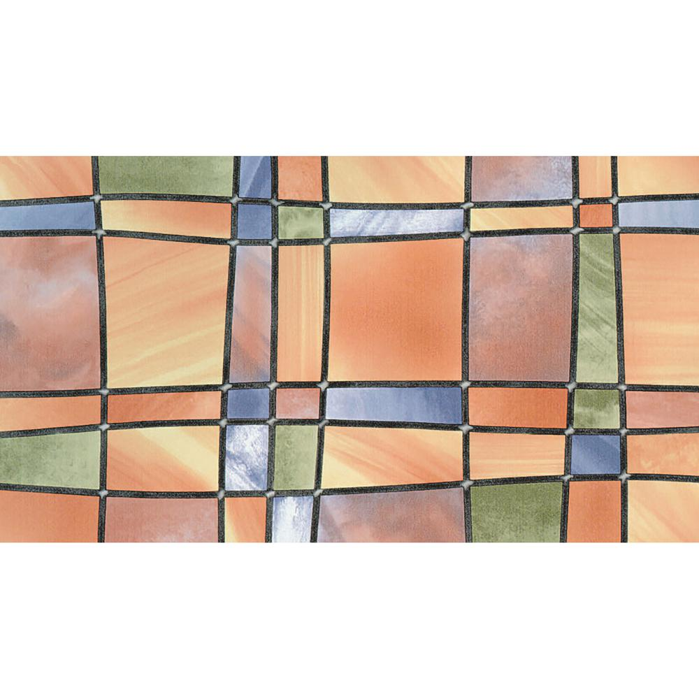 Fablon 78.74 in. x 26.57 in. Barcelona Window Film Set of 2 This colorful stained glass privacy window film brings an air of brilliance to any glass surface. A beautiful mosaic of shapes and colors naturally refracts light, while bringing a radiant finish to any room. The Barcelona Self Adhesive Window Film comes with two 26.57-in. x 78.74-in rolls and can be cut to fit any area.
