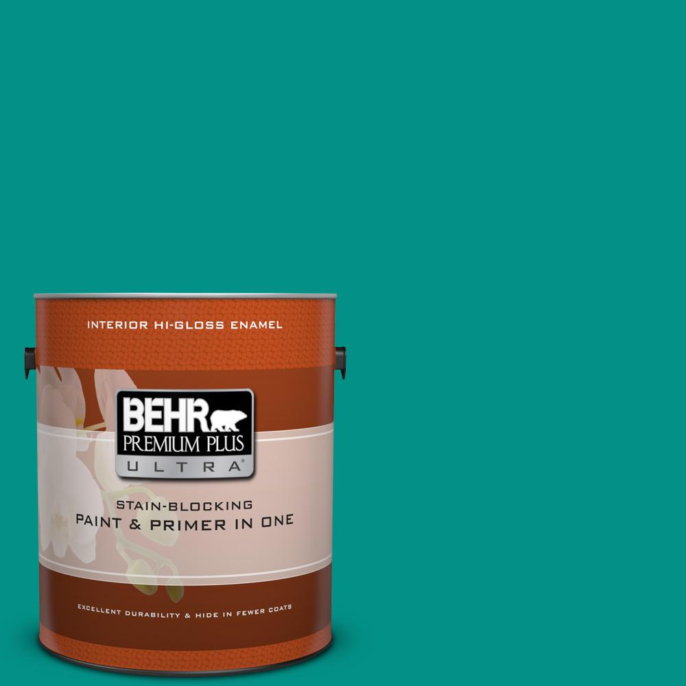 1 gal. #490B-6 Emerald Coast Hi-Gloss Enamel Interior Paint