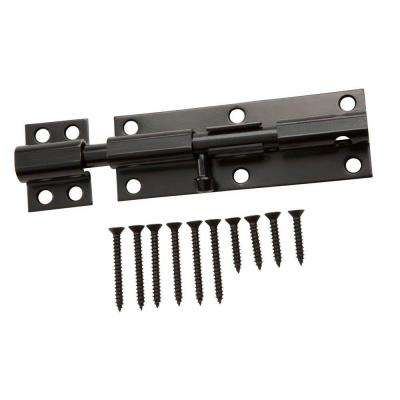 6 in. Black Heavy Duty Barrel Bolt