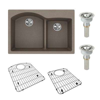 Quartz Classic Drop-in Composite 33 in. Double Bowl Kitchen Sink in Greige with Drains and Bottom Grids