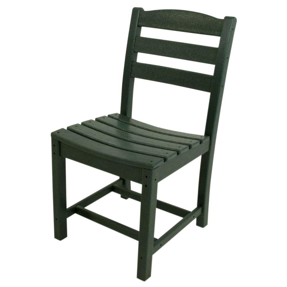 La Casa Cafe Green All-Weather Plastic Outdoor Dining Side Chair