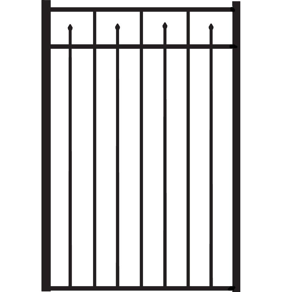Brilliance Standard-Duty 3 ft. W x 4.5 ft. H Black Aluminum Straight Pre-Assembled Fence Gate
