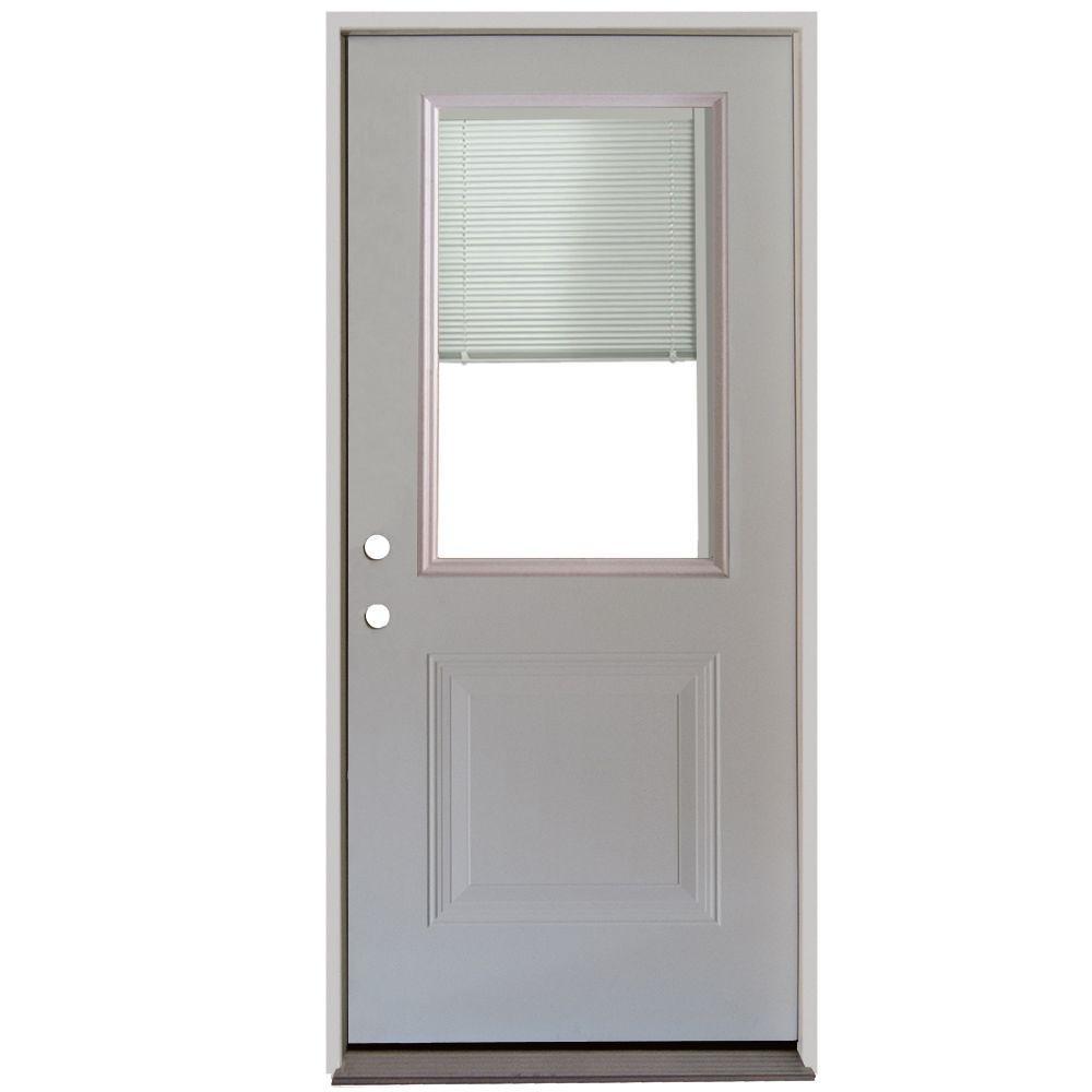32 in. x 80 in. 1-Panel 1/2-Lite Mini-Blind Primed White Steel