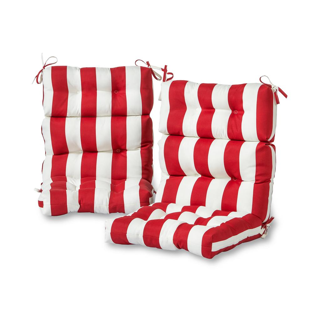 Greendale Home Fashions Cabana Stripe Red Outdoor High Back Dining Chair Cushion 2 Pack