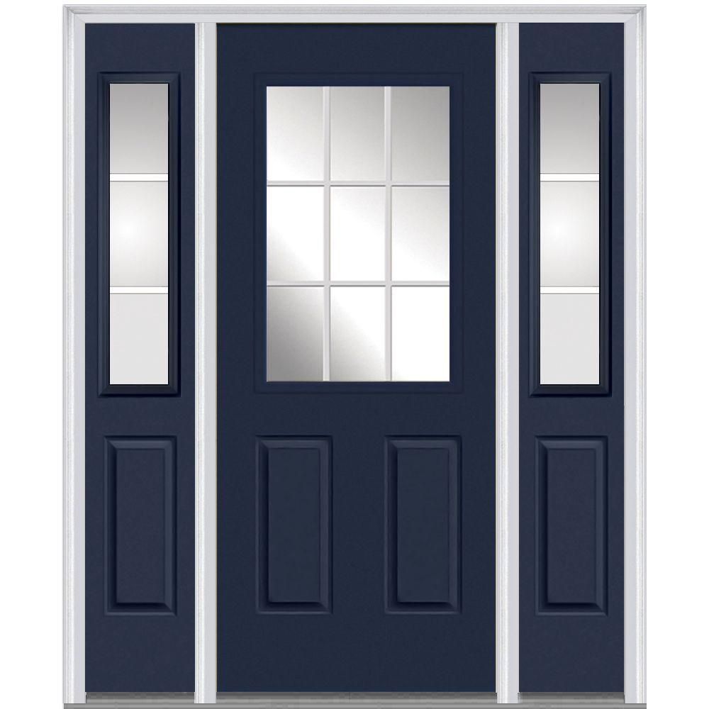 MMI Door 60 in. x 80 in. Internal Grilles Right-Hand 1/2-Lite Clear Painted Fiberglass Smooth Prehung Front Door with Sidelites