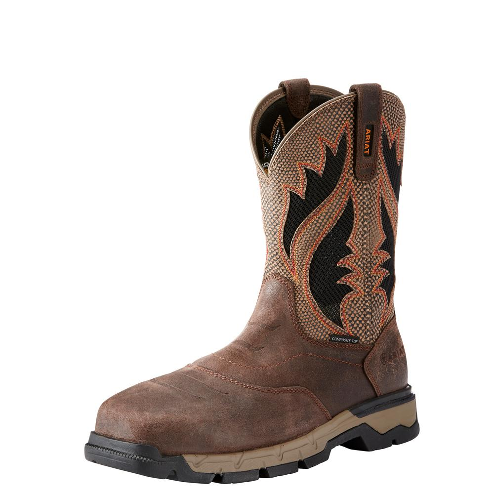 hot-selling official price top-rated authentic Ariat Men's Size 8.5 EE Chocolate Brown/Tan Rebar Western Venttek Composite  Toe Work Boot