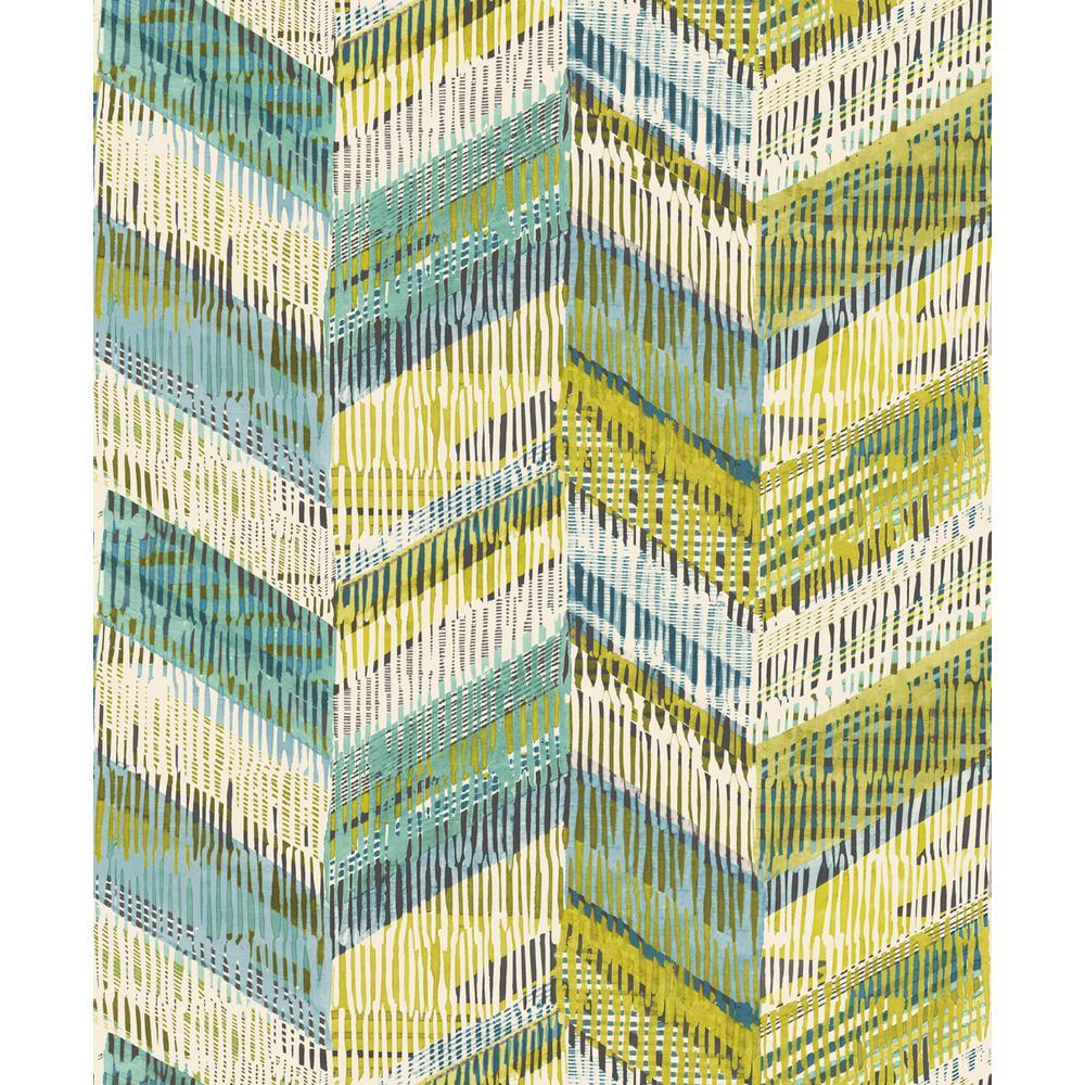 Chevron Weave Lime Wallpaper