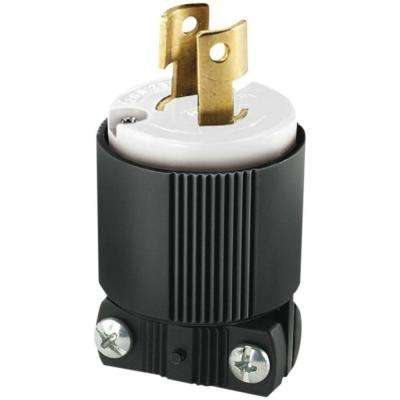 20 Amp 250-Volt L2-20 Safety Grip Plug, Black and White