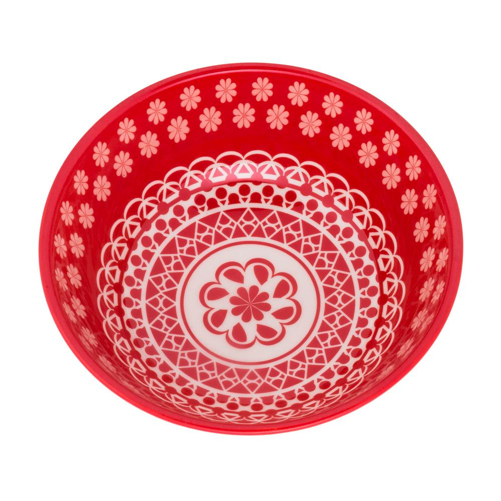 Manhattan Comfort Full Bowl 20.29 oz. Red Earthenware Soup Bowls (Set of 6) was $89.99 now $56.63 (37.0% off)