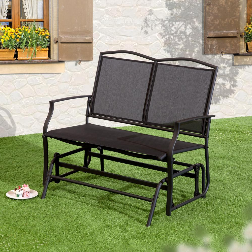 Suntime Outdoor Living 1 Piece Black Steel Swing Glider Bench
