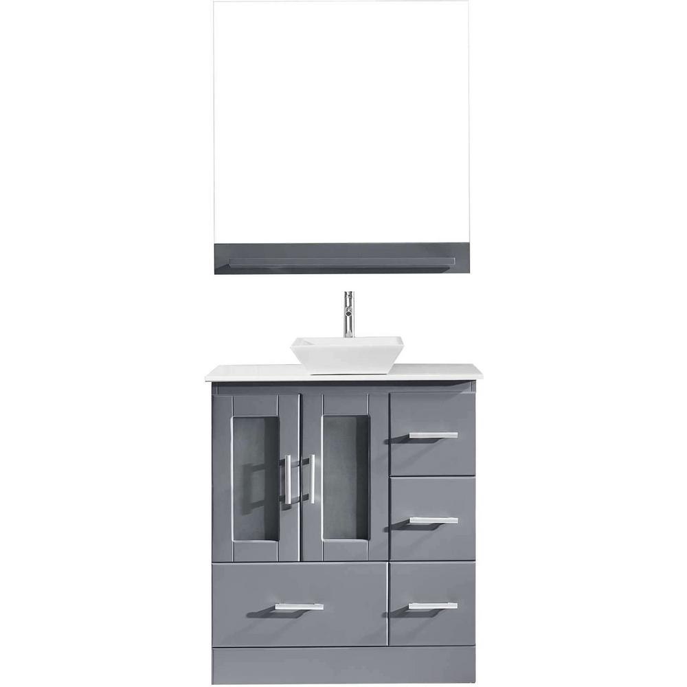 Virtu USA Zola 31 in. W Bath Vanity in Gray with Stone Vanity Top in White with Square Basin and Mirror and Faucet